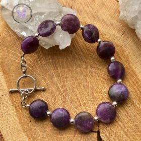 Lepidolite Coin Bracelet with Silver Toggle Clasp
